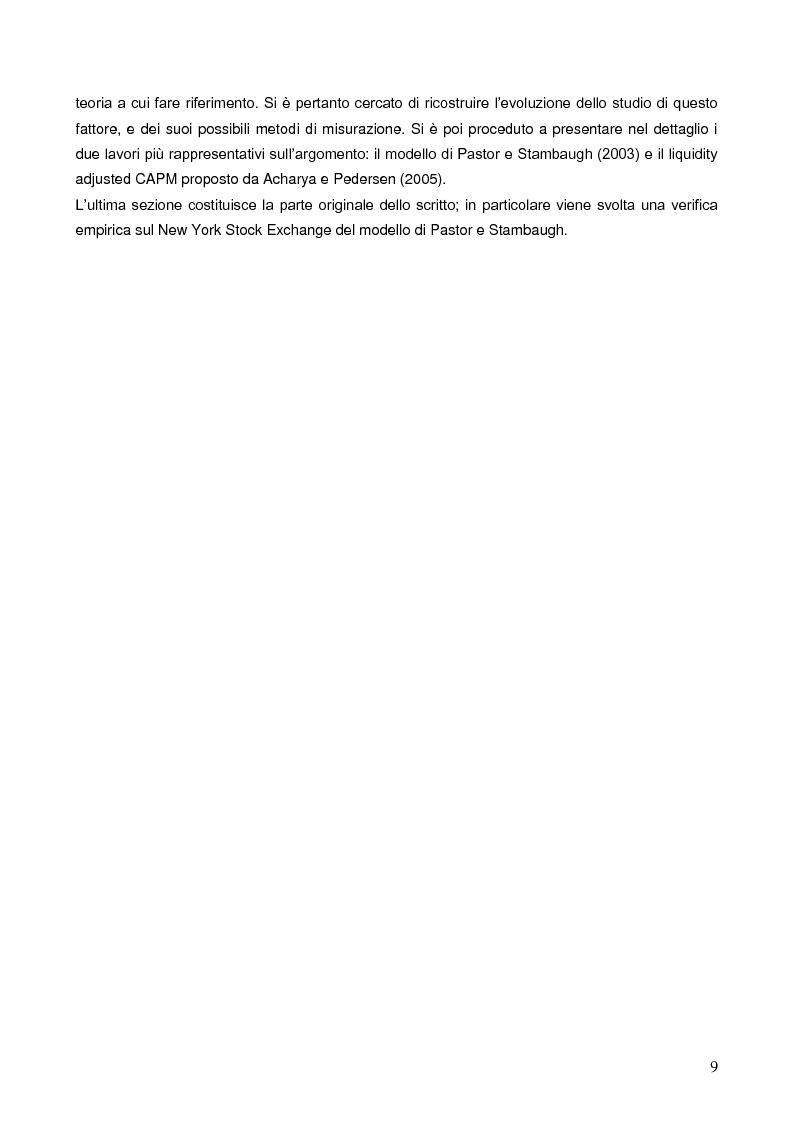 Anteprima della tesi: La liquidità nei modelli di asset pricing, Pagina 7