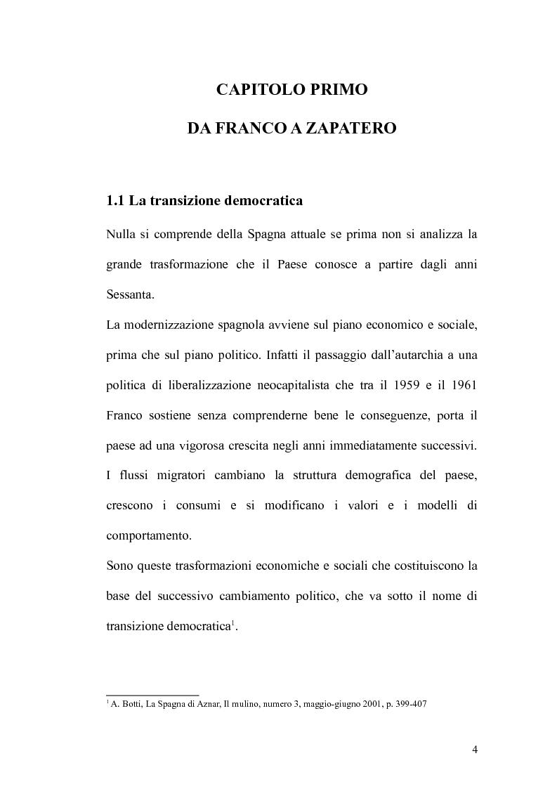 Anteprima della tesi: Dalla transizione democratica al governo Zapatero, Pagina 4