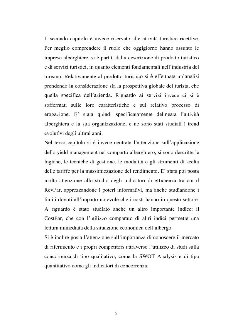 Anteprima della tesi: Lo Yield Management nel settore turistico ricettivo: il caso Hotel da Vinci, Pagina 2
