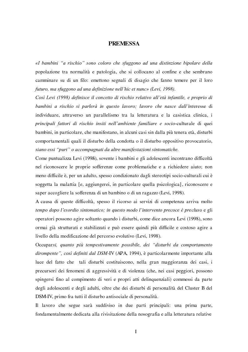 Anteprima della tesi: Disturbi del comportamento, fenomeni aggressivi e fattori di rischio. Un'indagine della corrispondenza tra letteratura e dati clinici di un'ASL del Piemonte., Pagina 1