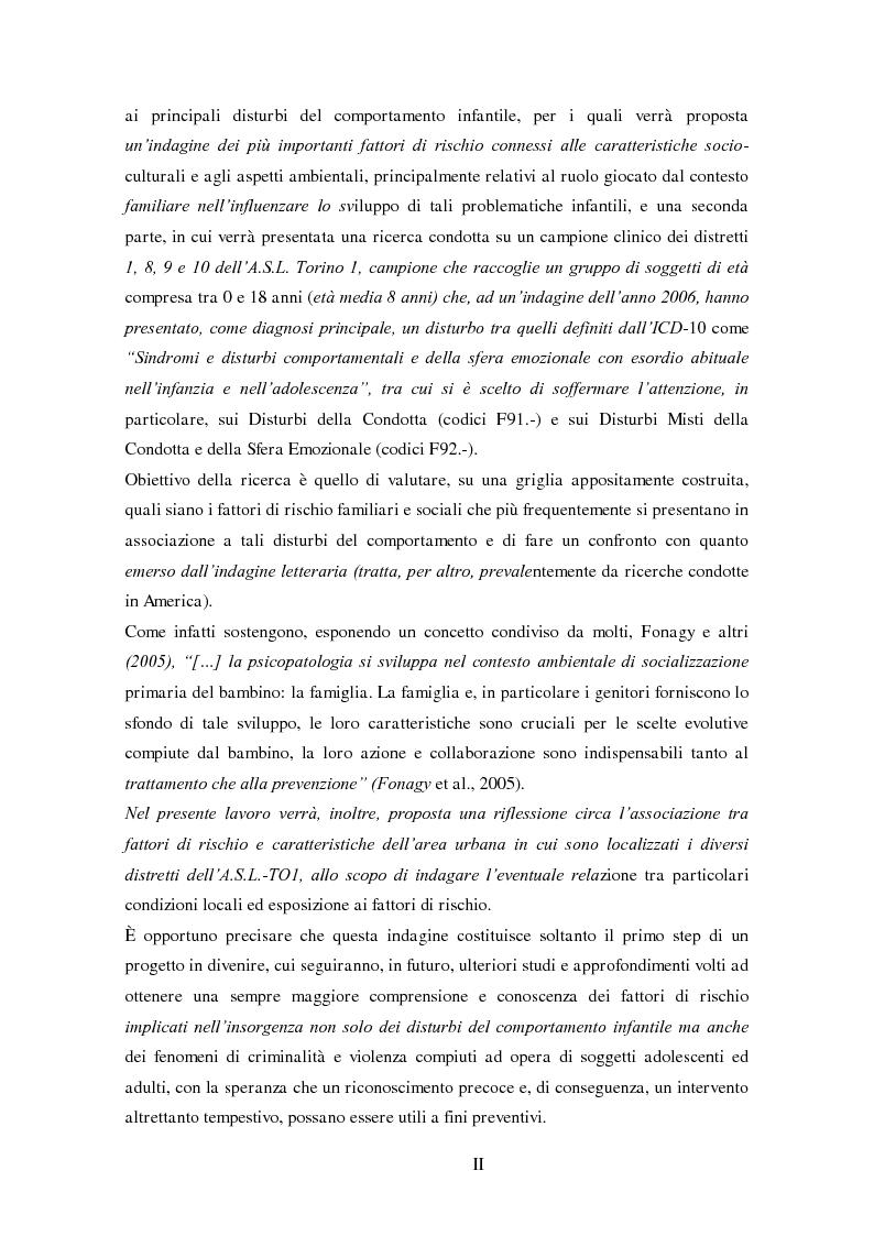 Anteprima della tesi: Disturbi del comportamento, fenomeni aggressivi e fattori di rischio. Un'indagine della corrispondenza tra letteratura e dati clinici di un'ASL del Piemonte., Pagina 2