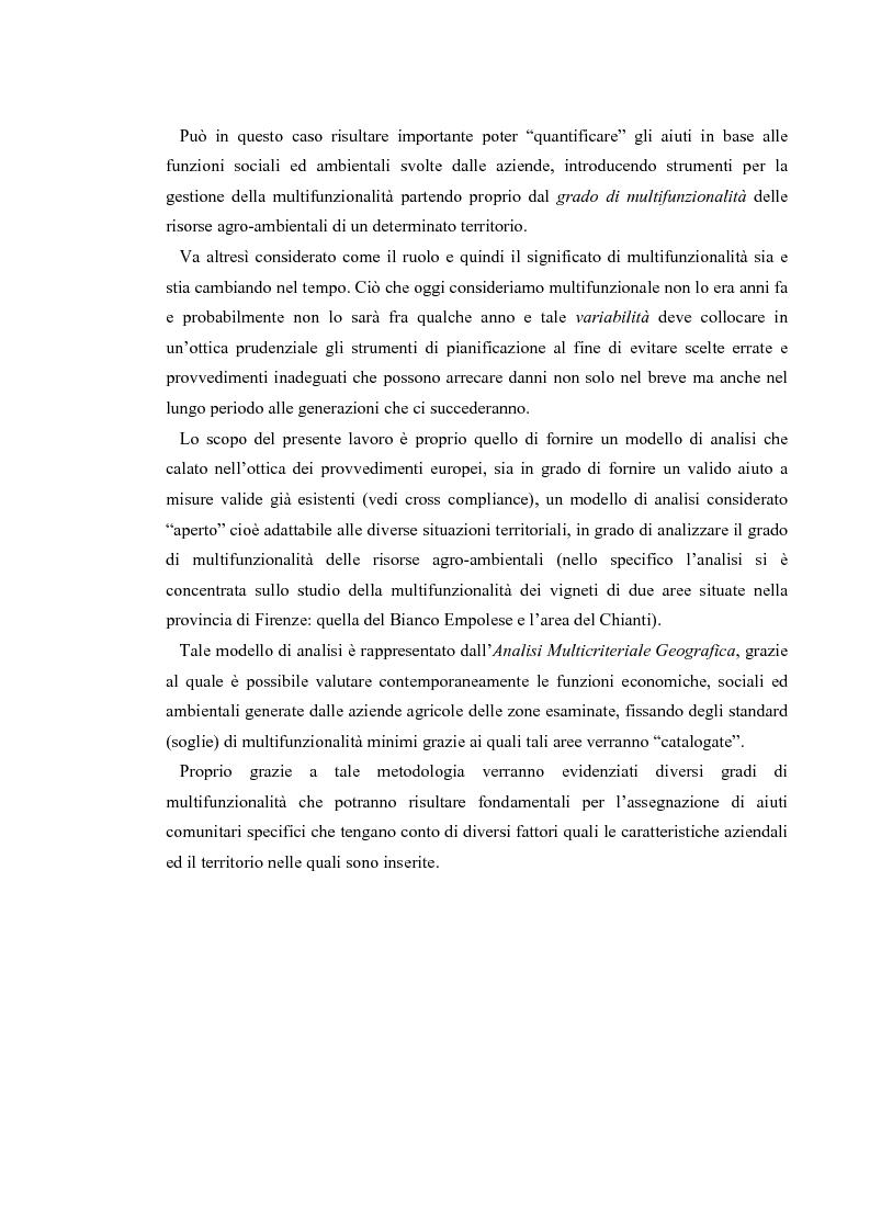 Anteprima della tesi: L'analisi multicriteriale geografica per lo studio della multifunzionalità: una applicazione al settore vitivinicolo, Pagina 4