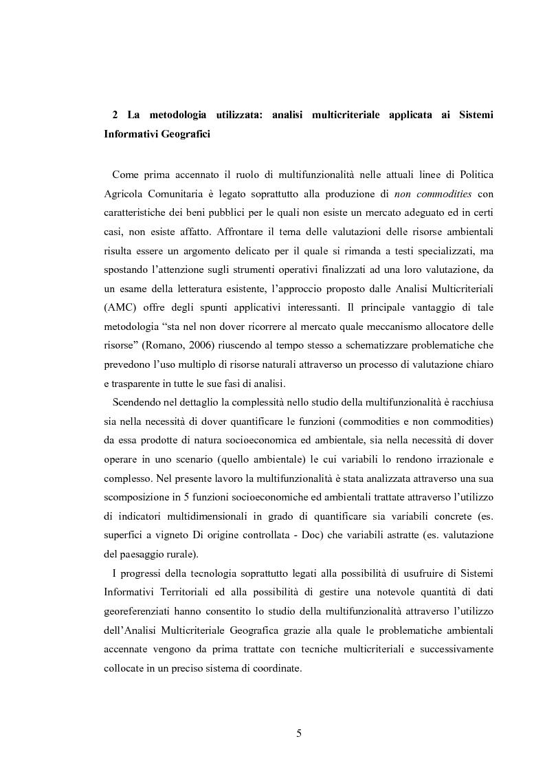 Anteprima della tesi: L'analisi multicriteriale geografica per lo studio della multifunzionalità: una applicazione al settore vitivinicolo, Pagina 5