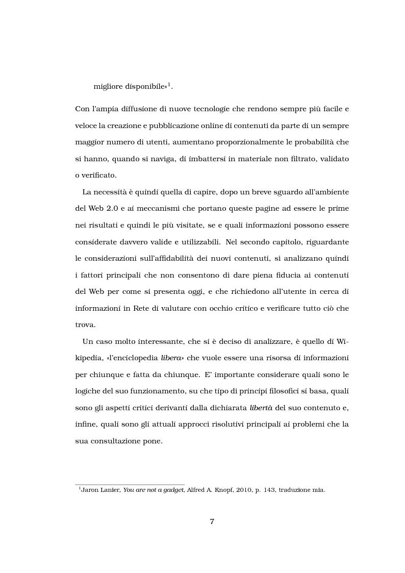 Anteprima della tesi: Problemi di affidabilità dei contenuti generati dagli utenti nel Web 2.0. Un'analisi del caso ''Wikipedia''., Pagina 2