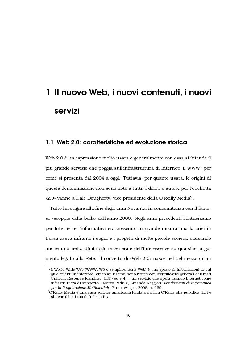 Anteprima della tesi: Problemi di affidabilità dei contenuti generati dagli utenti nel Web 2.0. Un'analisi del caso ''Wikipedia''., Pagina 3