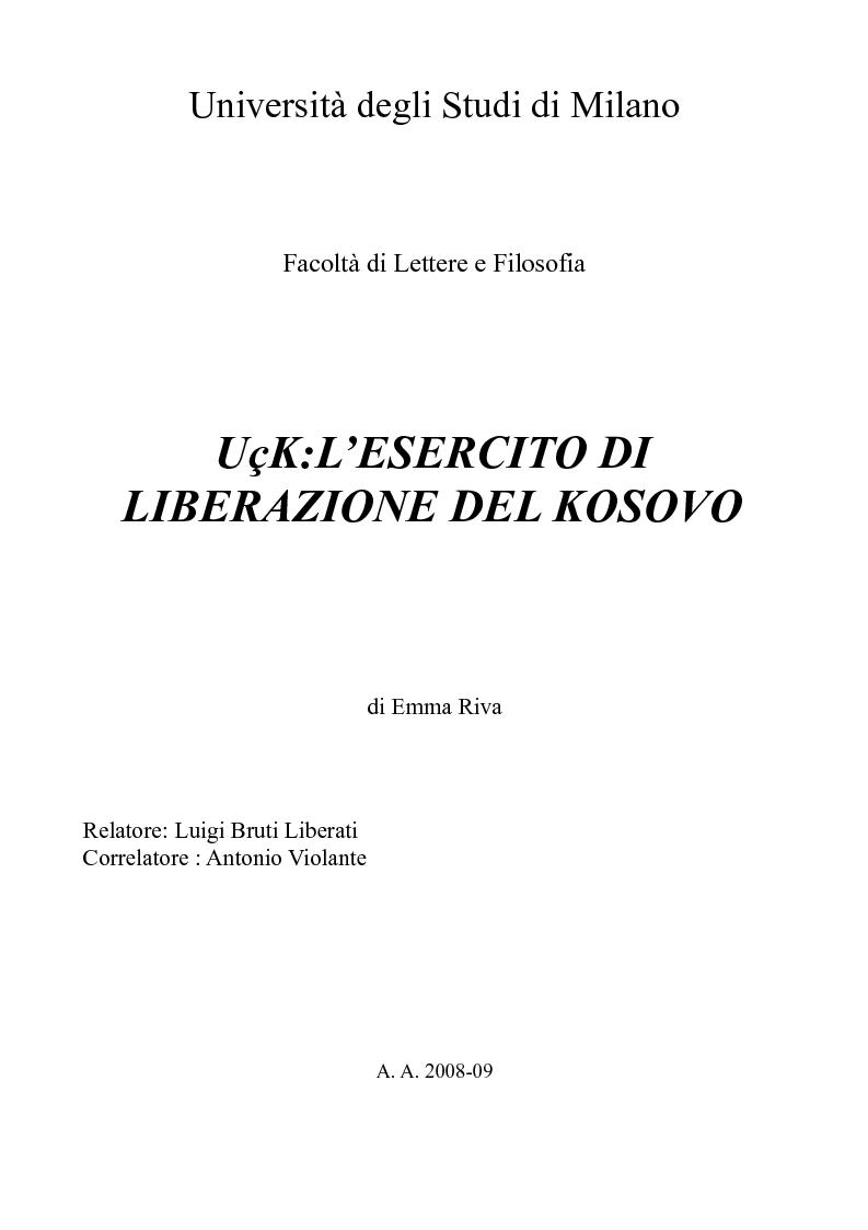 Anteprima della tesi: UçK: l'esercito di liberazione del Kosovo, Pagina 1