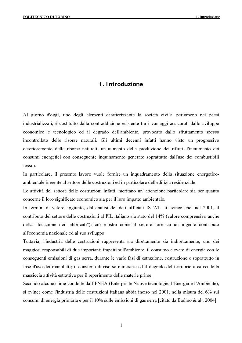 Anteprima della tesi: Applicazione della metodologia LCA alla vita di un edificio: analisi dell'efficienza ambientale della fase di demolizione e smaltimento delle macerie, Pagina 1
