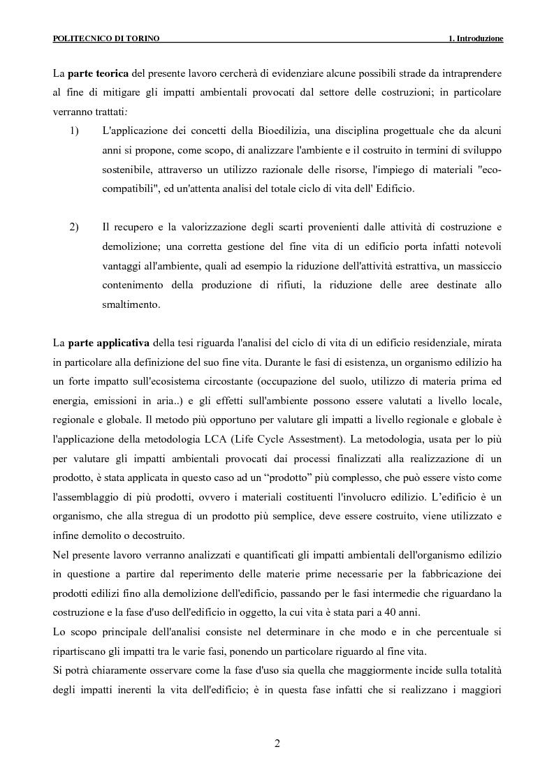 Anteprima della tesi: Applicazione della metodologia LCA alla vita di un edificio: analisi dell'efficienza ambientale della fase di demolizione e smaltimento delle macerie, Pagina 2
