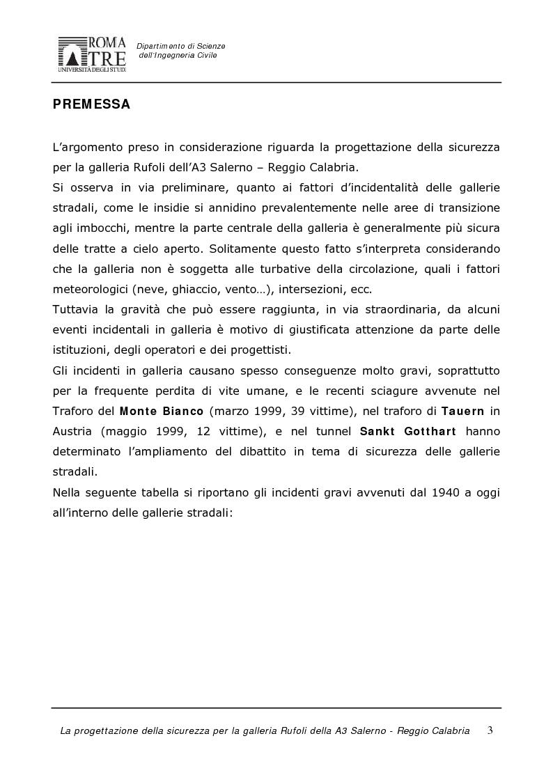 Anteprima della tesi: La progettazione della sicurezza per la galleria Rufoli dell'A3 Salerno-Reggio Calabria, Pagina 1
