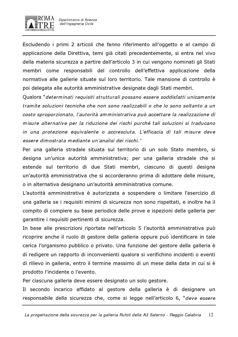 Anteprima della tesi: La progettazione della sicurezza per la galleria Rufoli dell'A3 Salerno-Reggio Calabria, Pagina 10