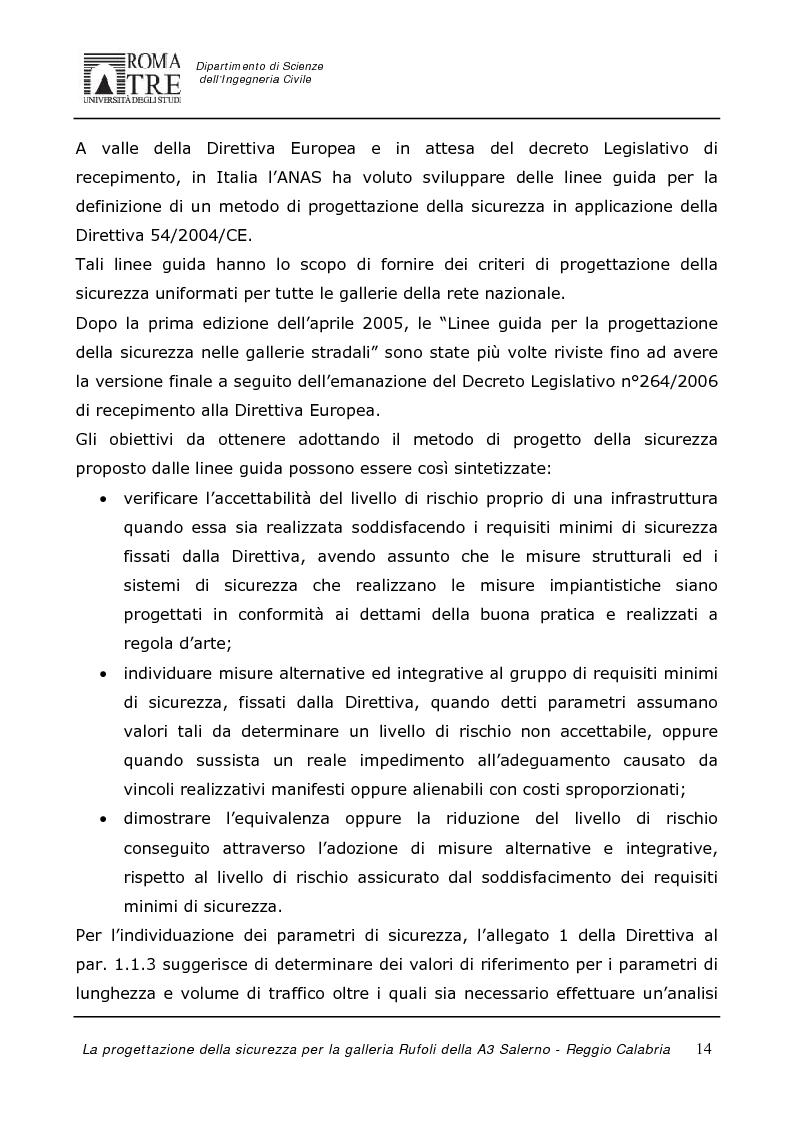 Anteprima della tesi: La progettazione della sicurezza per la galleria Rufoli dell'A3 Salerno-Reggio Calabria, Pagina 12