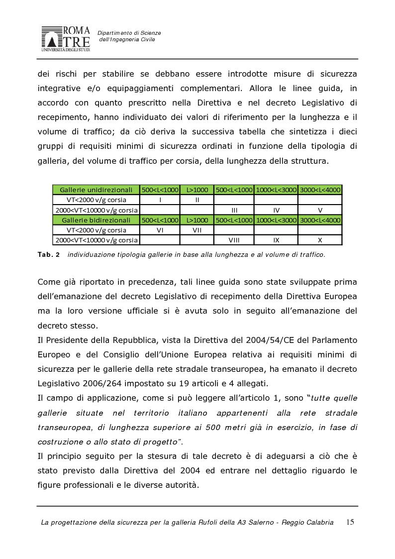 Anteprima della tesi: La progettazione della sicurezza per la galleria Rufoli dell'A3 Salerno-Reggio Calabria, Pagina 13