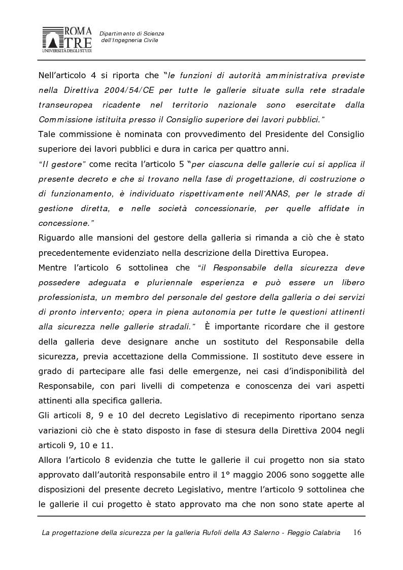 Anteprima della tesi: La progettazione della sicurezza per la galleria Rufoli dell'A3 Salerno-Reggio Calabria, Pagina 14