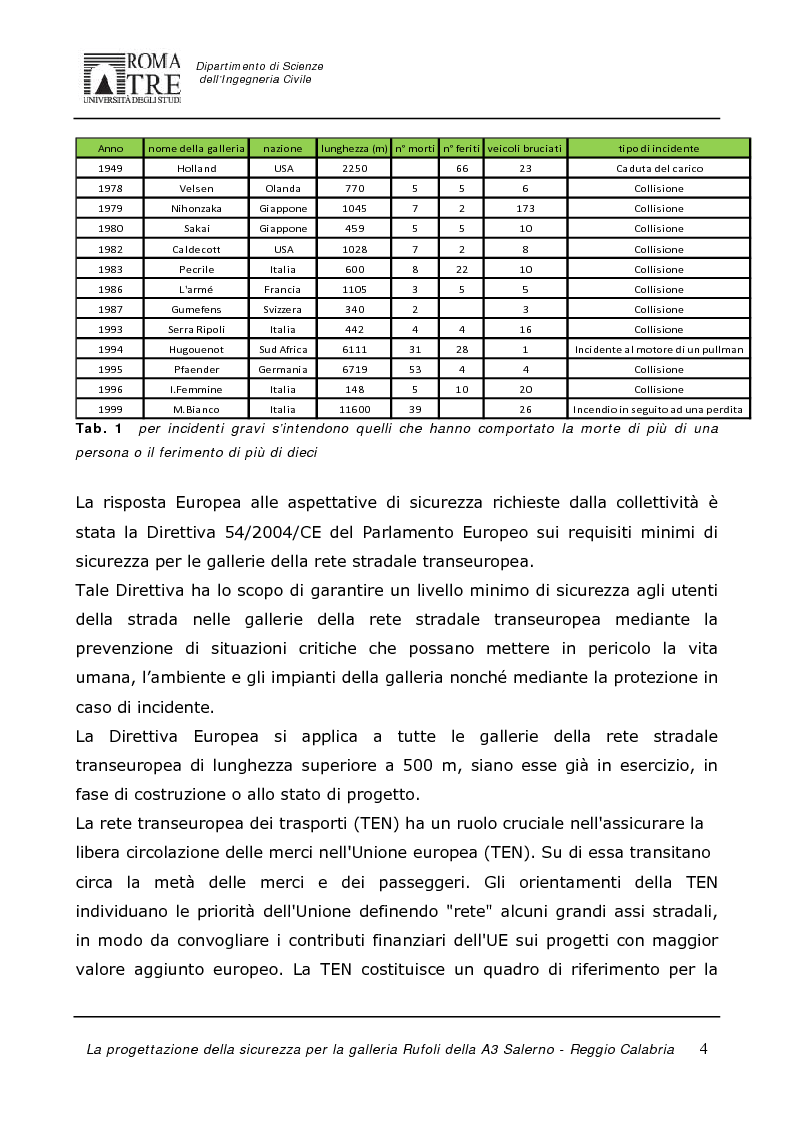 Anteprima della tesi: La progettazione della sicurezza per la galleria Rufoli dell'A3 Salerno-Reggio Calabria, Pagina 2