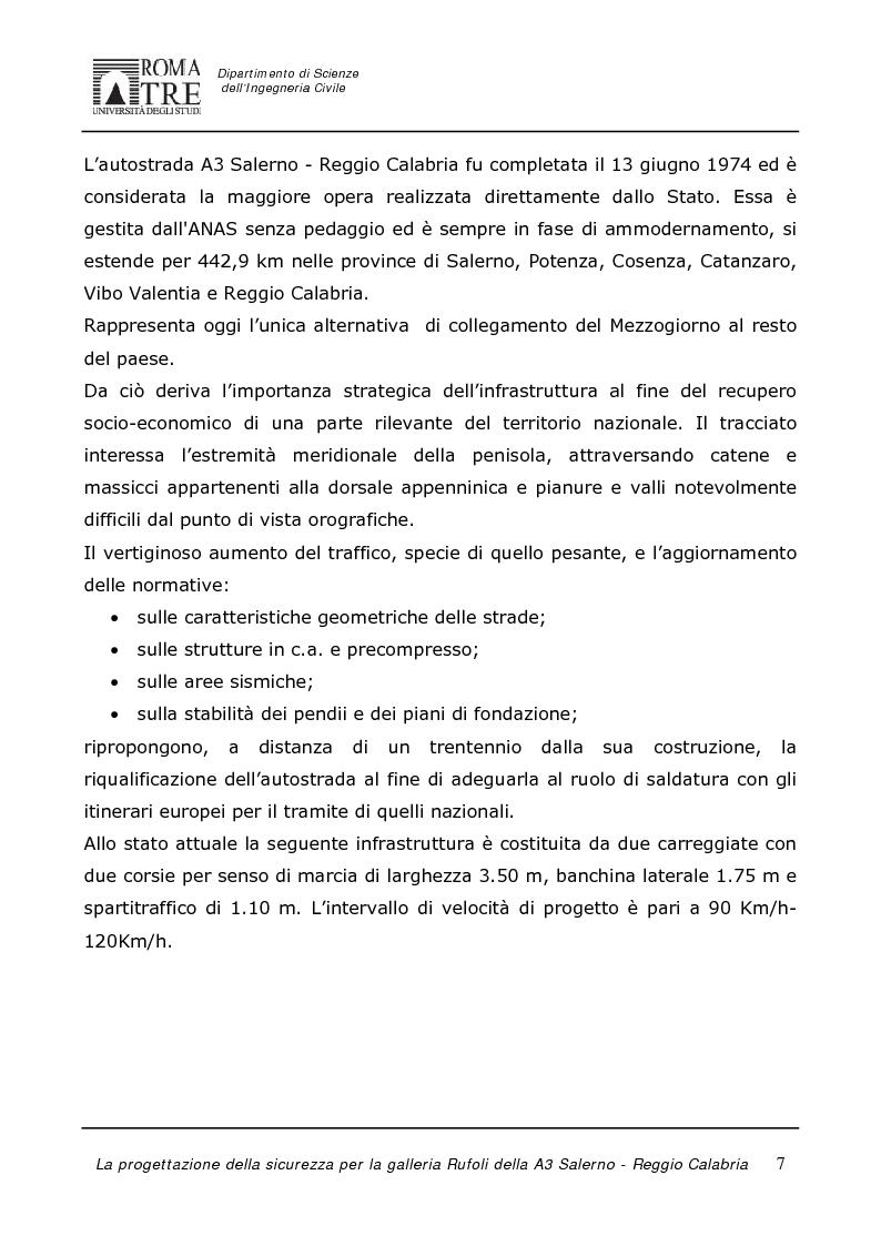 Anteprima della tesi: La progettazione della sicurezza per la galleria Rufoli dell'A3 Salerno-Reggio Calabria, Pagina 5