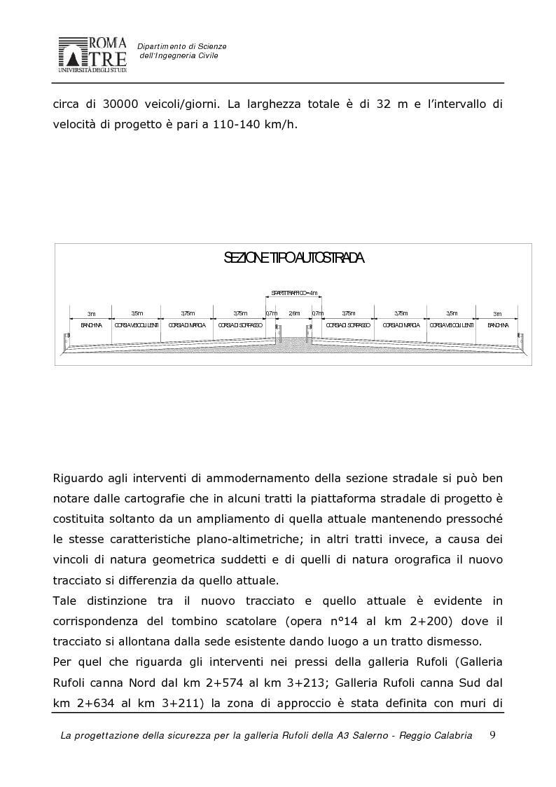 Anteprima della tesi: La progettazione della sicurezza per la galleria Rufoli dell'A3 Salerno-Reggio Calabria, Pagina 7