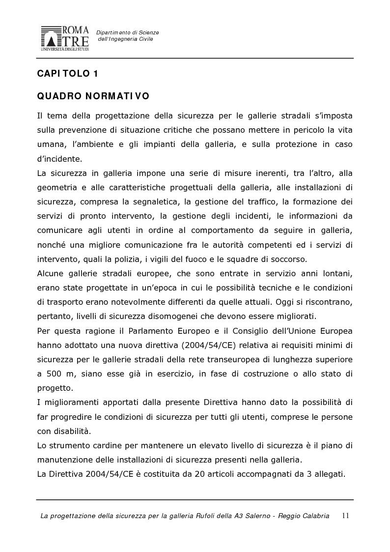 Anteprima della tesi: La progettazione della sicurezza per la galleria Rufoli dell'A3 Salerno-Reggio Calabria, Pagina 9
