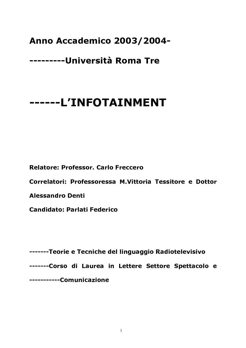 Anteprima della tesi: L'infotainment, Pagina 1