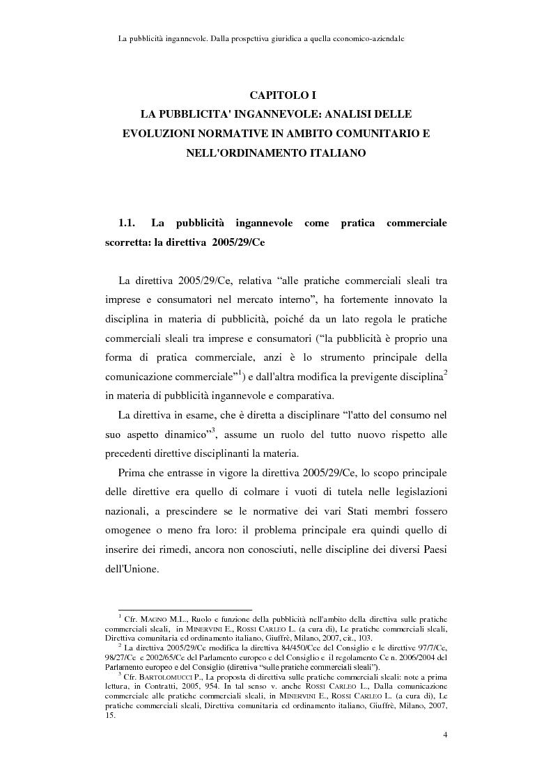 Anteprima della tesi: La pubblicità ingannevole. Dalla prospettiva giuridica a quella economico-aziendale., Pagina 1