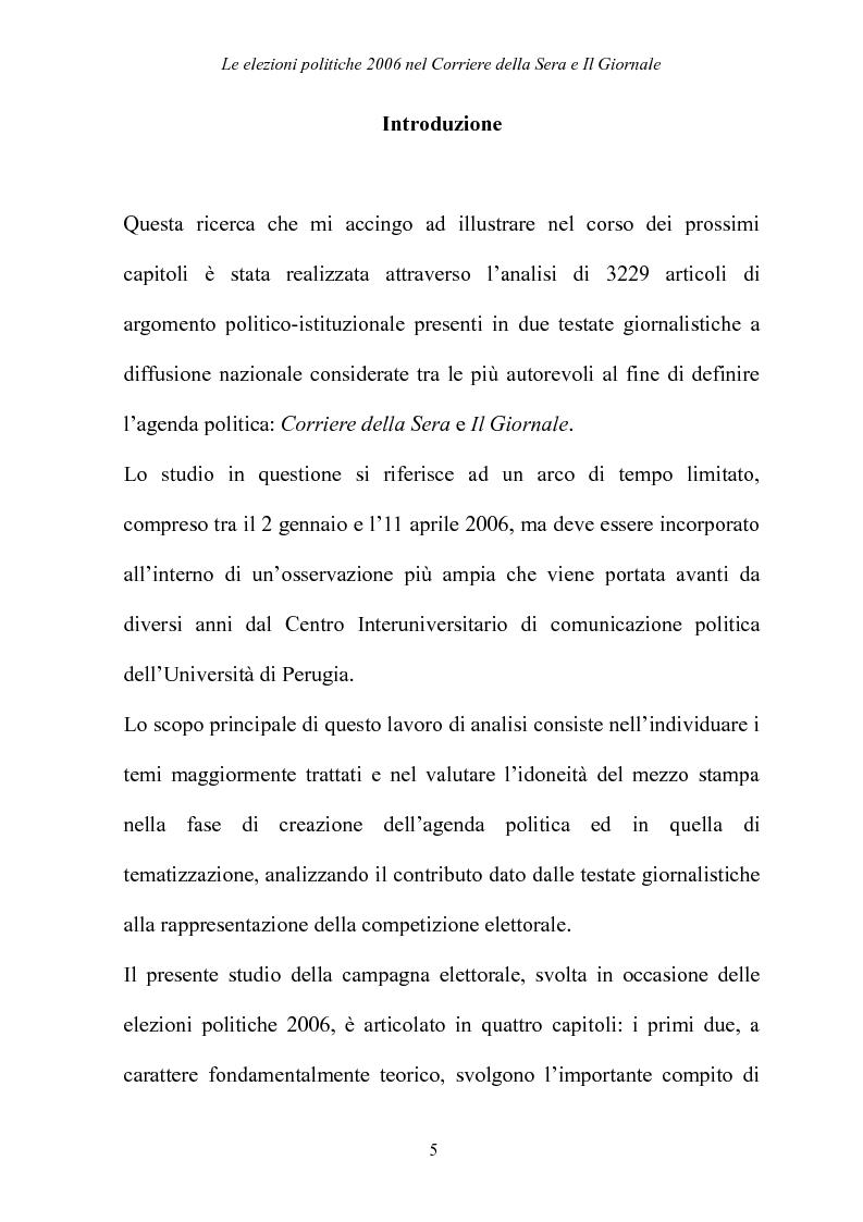 Anteprima della tesi: Le elezioni Politiche 2006 nel Corriere della sera e Il Giornale, Pagina 1