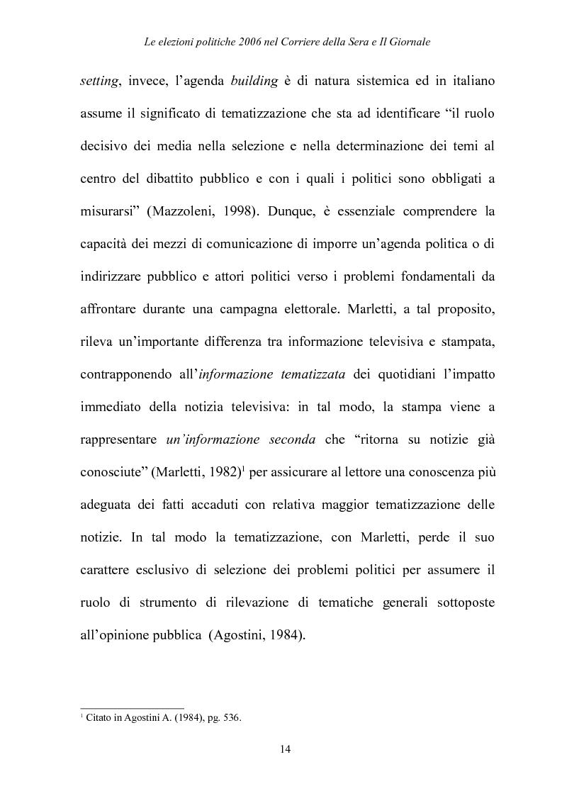 Anteprima della tesi: Le elezioni Politiche 2006 nel Corriere della sera e Il Giornale, Pagina 10