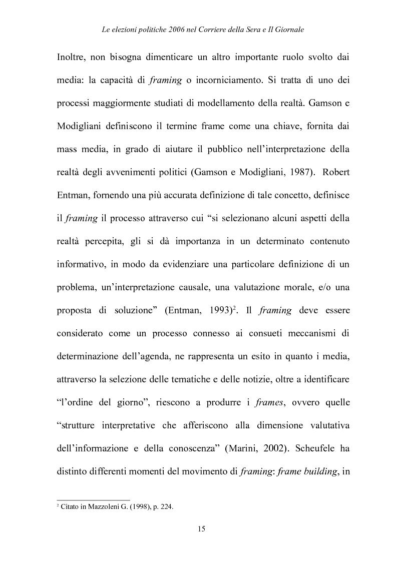 Anteprima della tesi: Le elezioni Politiche 2006 nel Corriere della sera e Il Giornale, Pagina 11