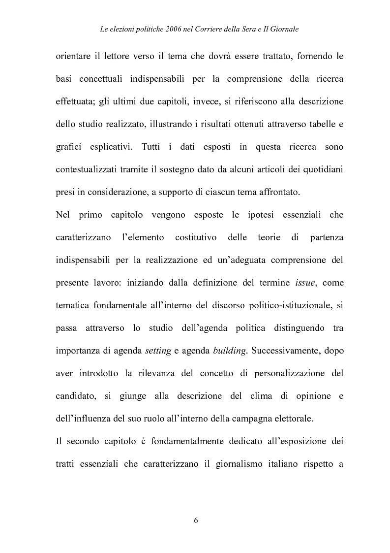 Anteprima della tesi: Le elezioni Politiche 2006 nel Corriere della sera e Il Giornale, Pagina 2