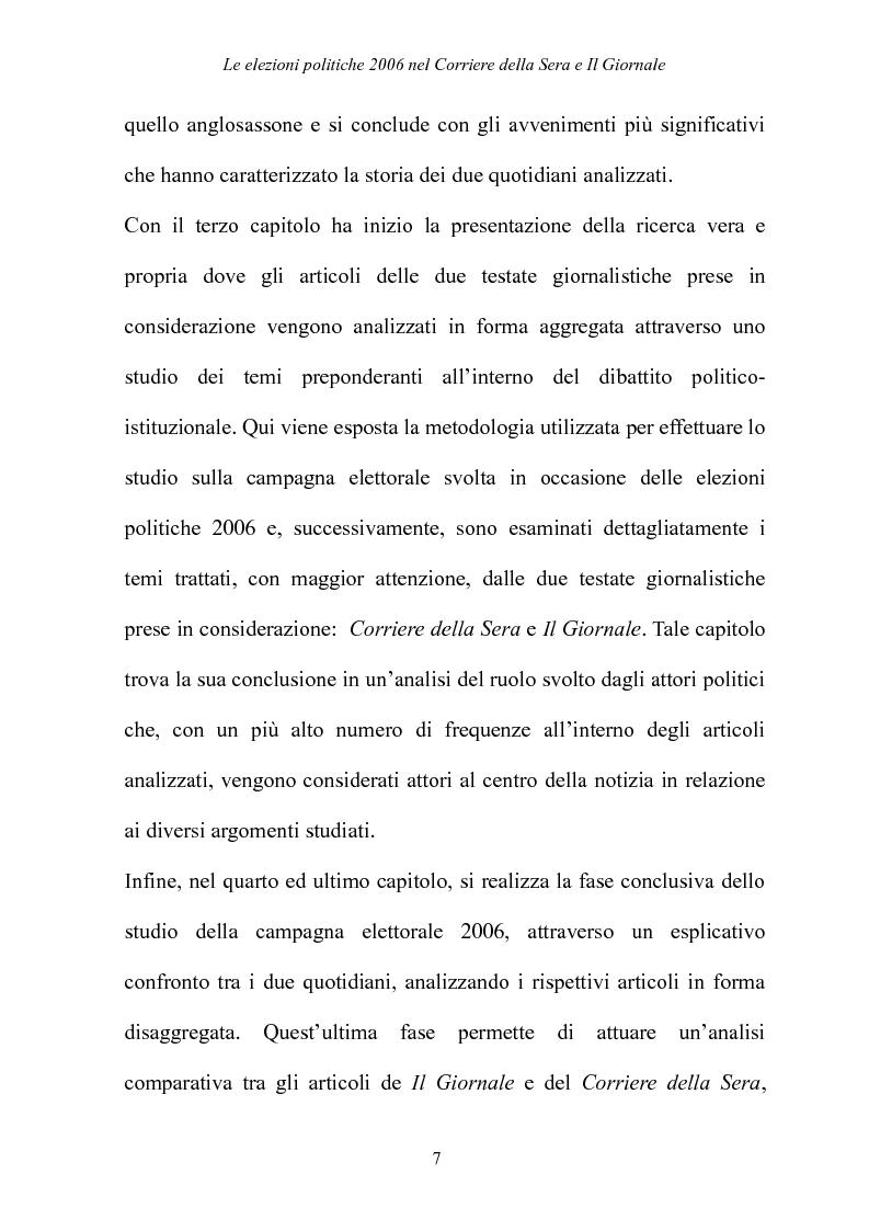 Anteprima della tesi: Le elezioni Politiche 2006 nel Corriere della sera e Il Giornale, Pagina 3
