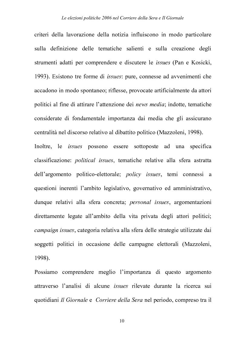 Anteprima della tesi: Le elezioni Politiche 2006 nel Corriere della sera e Il Giornale, Pagina 6