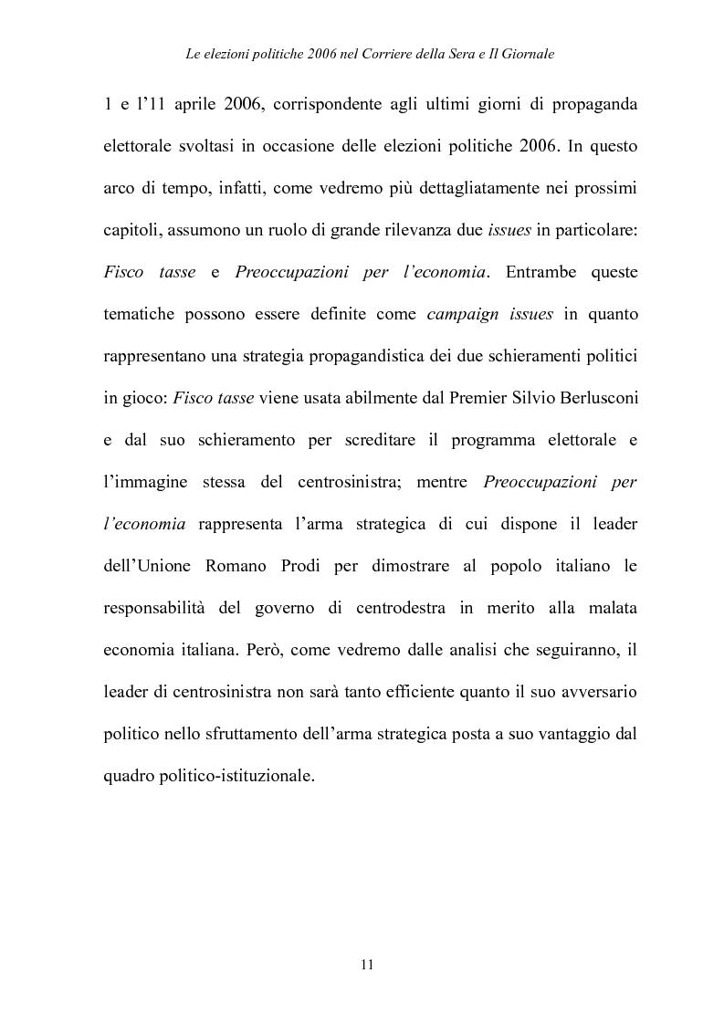 Anteprima della tesi: Le elezioni Politiche 2006 nel Corriere della sera e Il Giornale, Pagina 7