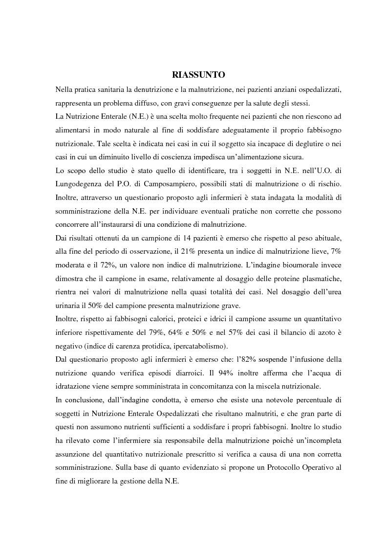 Anteprima della tesi: Il ruolo infermieristico nella gestione della Nutrizione Enterale: indagine sullo stato nutrizionale e protocollo di somministrazione presso l'U.O. di Lungodegenza del P.O. di Camposampiero., Pagina 1