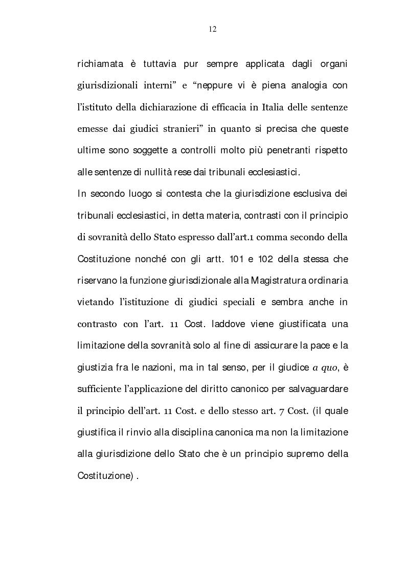 Anteprima della tesi: La riserva di giurisdizione ecclesiastica in materia matrimoniale, Pagina 12