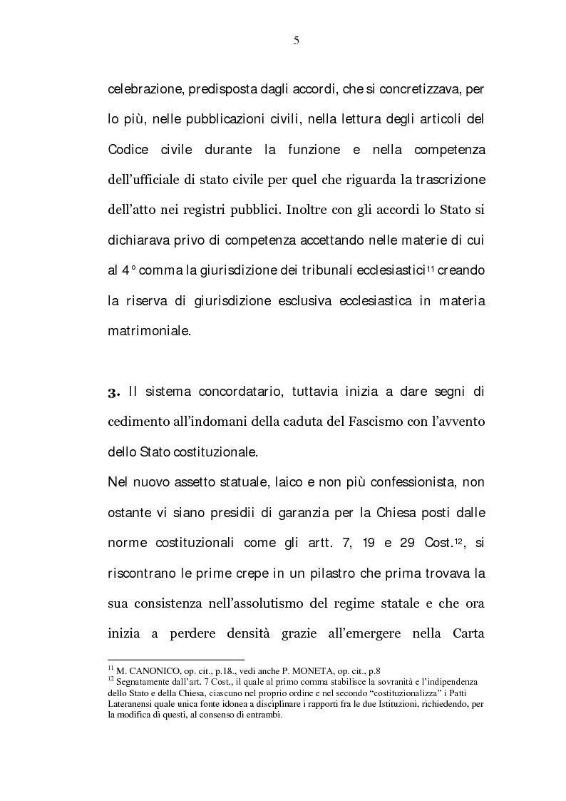 Anteprima della tesi: La riserva di giurisdizione ecclesiastica in materia matrimoniale, Pagina 5