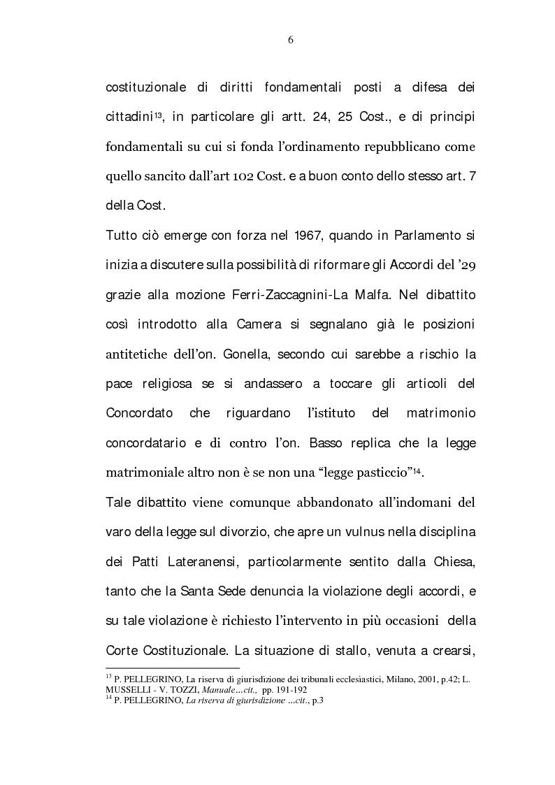 Anteprima della tesi: La riserva di giurisdizione ecclesiastica in materia matrimoniale, Pagina 6
