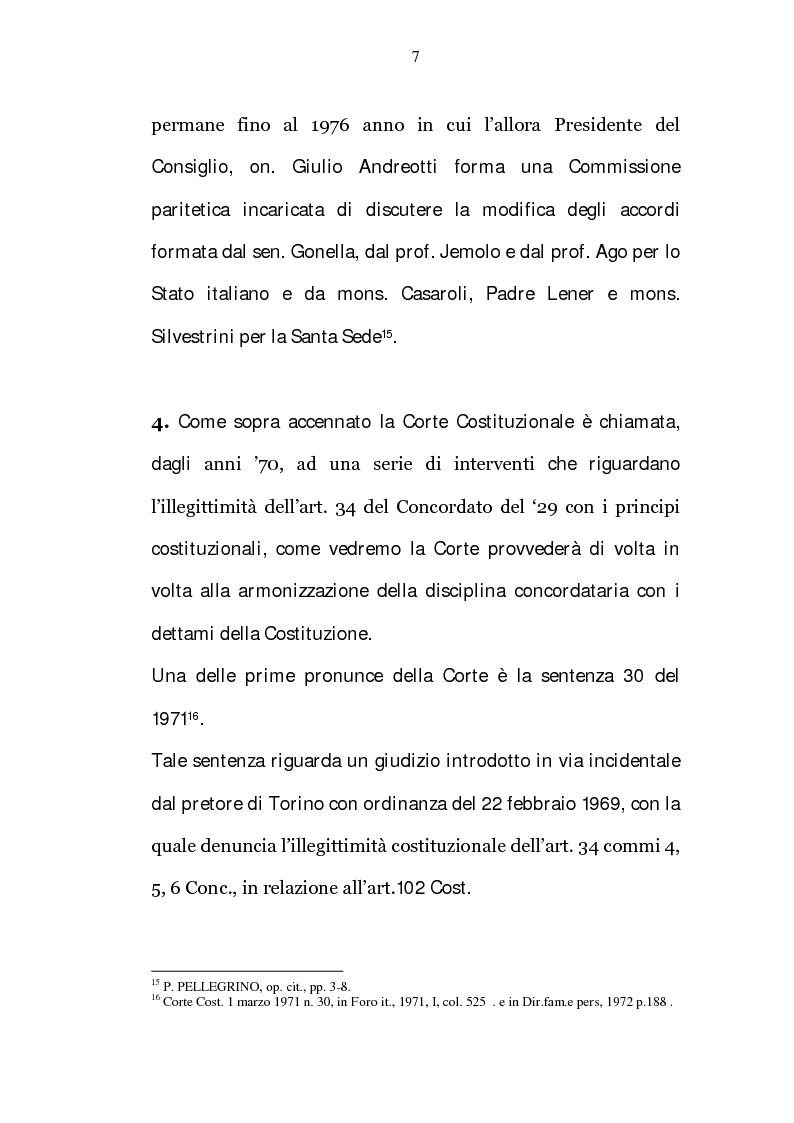 Anteprima della tesi: La riserva di giurisdizione ecclesiastica in materia matrimoniale, Pagina 7
