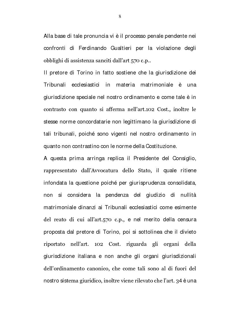 Anteprima della tesi: La riserva di giurisdizione ecclesiastica in materia matrimoniale, Pagina 8