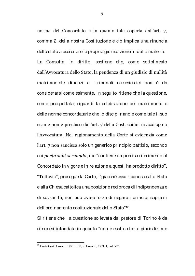 Anteprima della tesi: La riserva di giurisdizione ecclesiastica in materia matrimoniale, Pagina 9