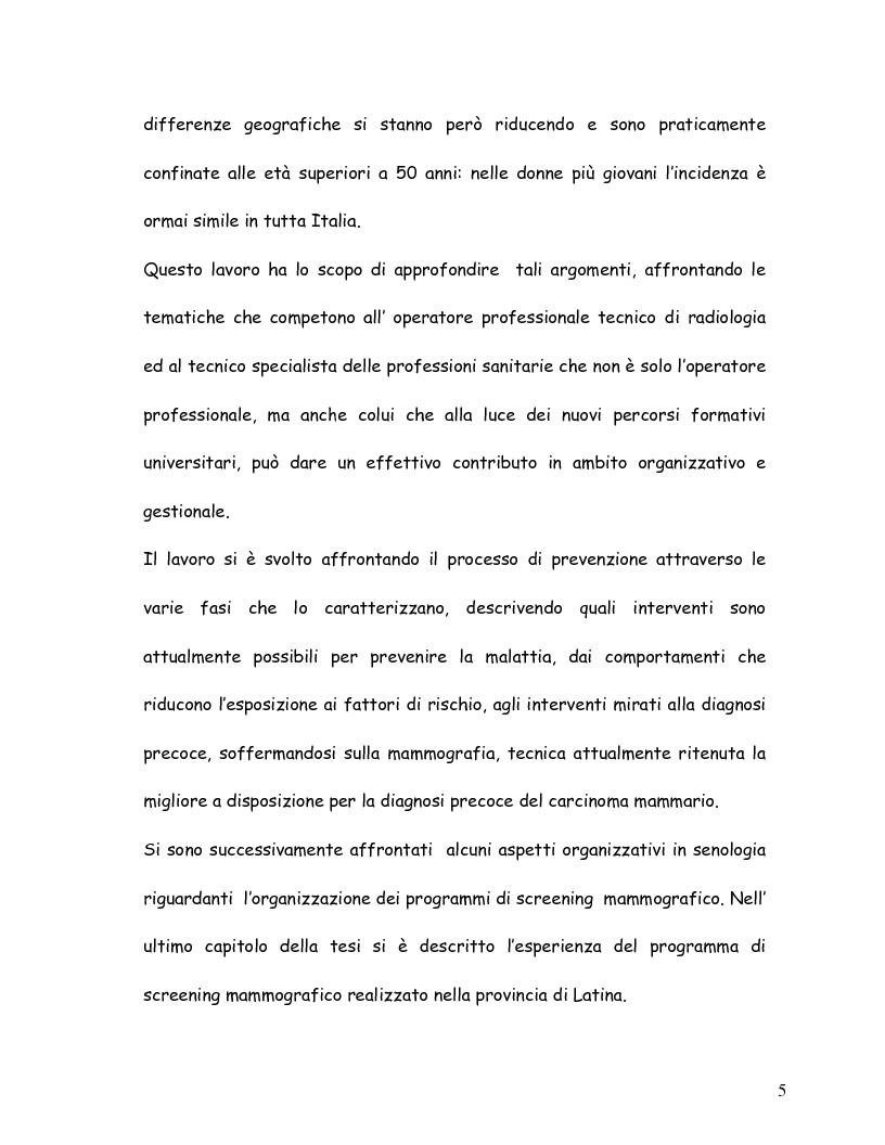 Anteprima della tesi: La mammografia e lo screening - Aspetti tecnico-organizzativi, Pagina 2
