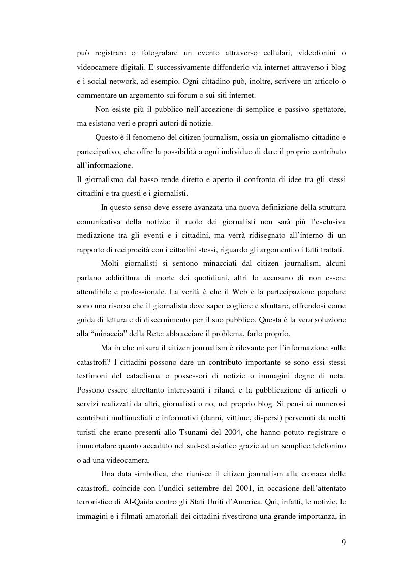 Anteprima della tesi: Terremoto sul Web. L'informazione sulle catastrofi ai tempi del citizen journalism., Pagina 2