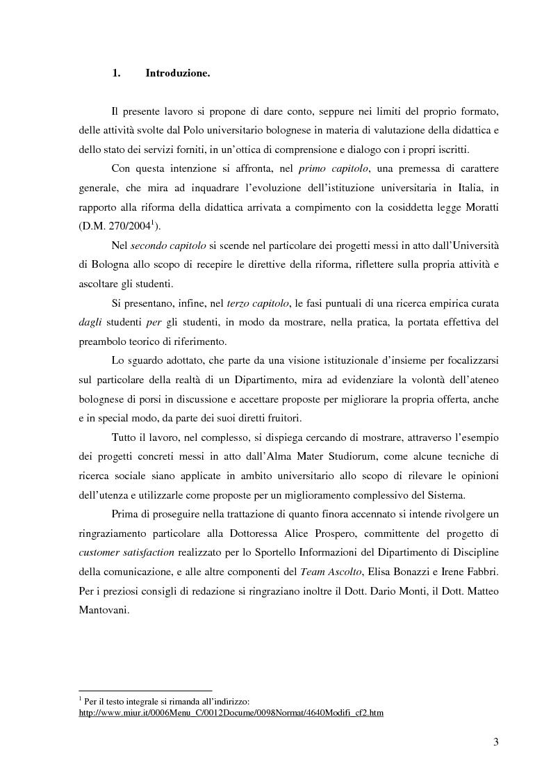 Anteprima della tesi: L'Ateneo che ascolta. Autovalutazione e customer satisfaction nel contesto del Polo universitario bolognese., Pagina 1