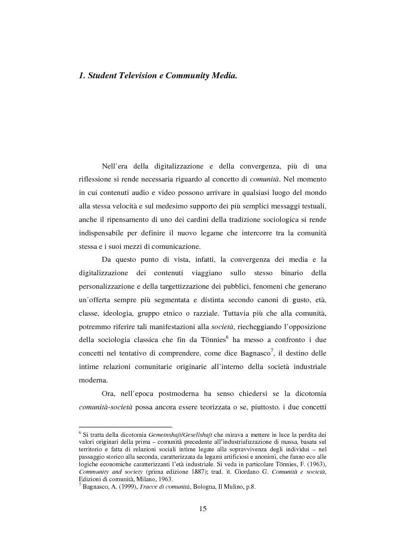 Anteprima della tesi: Student TV. Analisi del fenomeno delle televisioni gestite dagli studenti nel Nord Europa., Pagina 1