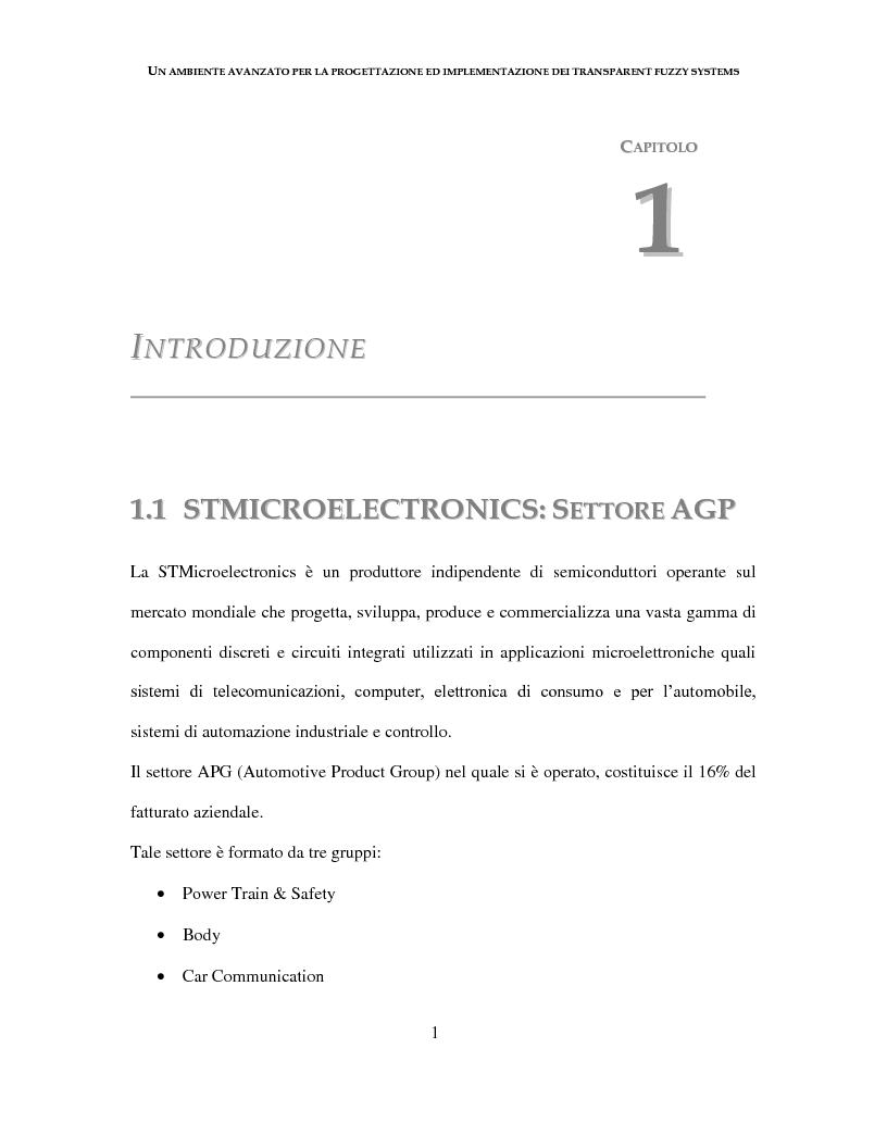 Anteprima della tesi: Un ambiente avanzato per la progettazione ed implementazione dei Transparent Fuzzy Systems, Pagina 1