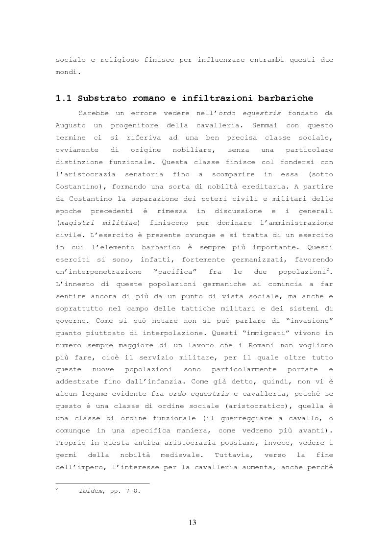 Anteprima della tesi: Origine, Chiusura Sociale e Funzione Della Cavalleria Medievale, Pagina 9