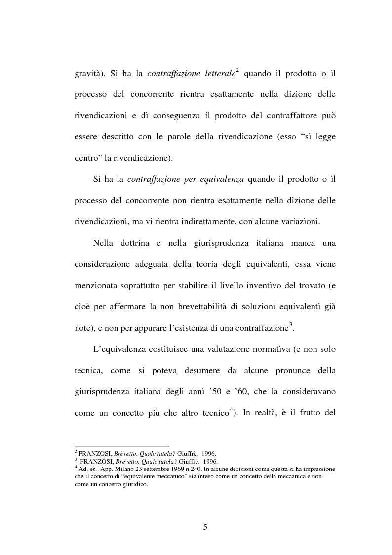 Anteprima della tesi: La contraffazione per equivalenti del brevetto per invenzione, Pagina 2