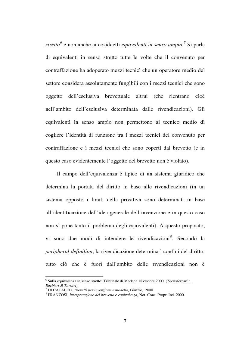 Anteprima della tesi: La contraffazione per equivalenti del brevetto per invenzione, Pagina 4
