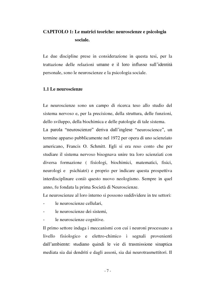 Anteprima della tesi: Il contributo delle neuroscienze e della ricerca psicosociale allo studio delle relazioni umane, Pagina 1