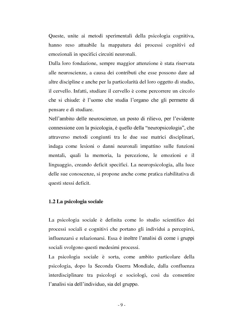 Anteprima della tesi: Il contributo delle neuroscienze e della ricerca psicosociale allo studio delle relazioni umane, Pagina 3