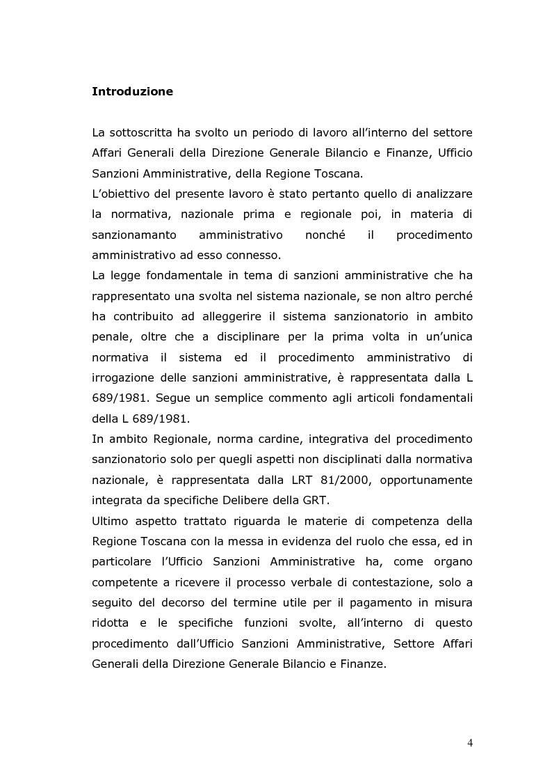 Anteprima della tesi: Sanzioni amministrative e procedimento sanzionatorio nelle materie di competenza della Regione Toscana, Pagina 1