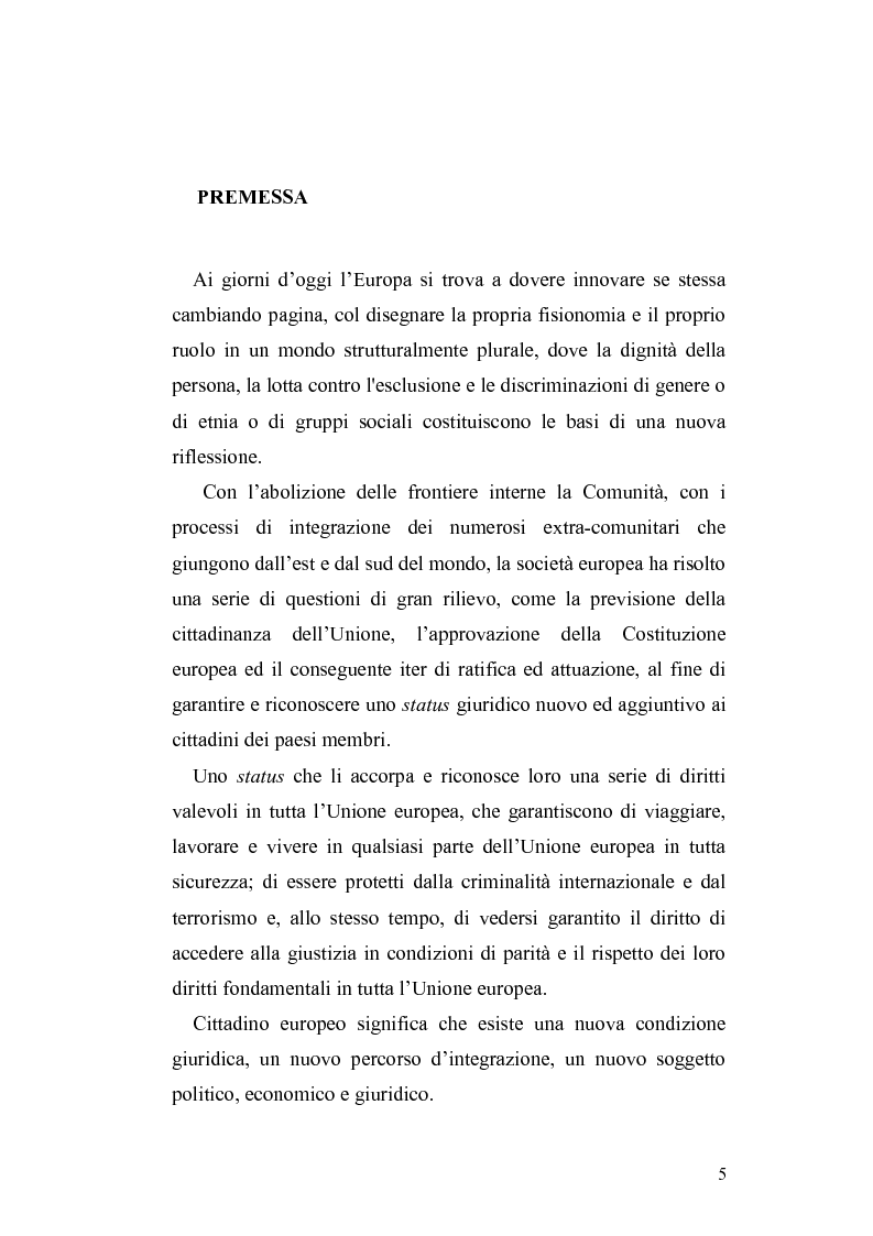 Anteprima della tesi: Il diritto di circolazione e soggiorno dei cittadini dell'Unione Europea, Pagina 1