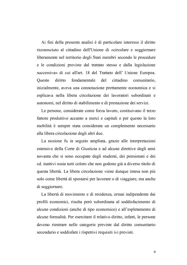 Anteprima tesi - Il diritto di circolazione e soggiorno dei ...